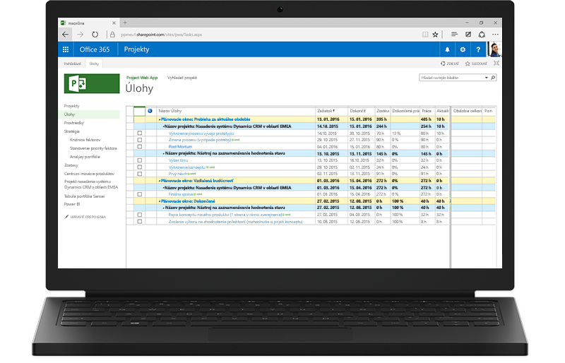 Prenosný počítač zobrazujúci na monitore zoznam úloh v Projecte v Office 365.
