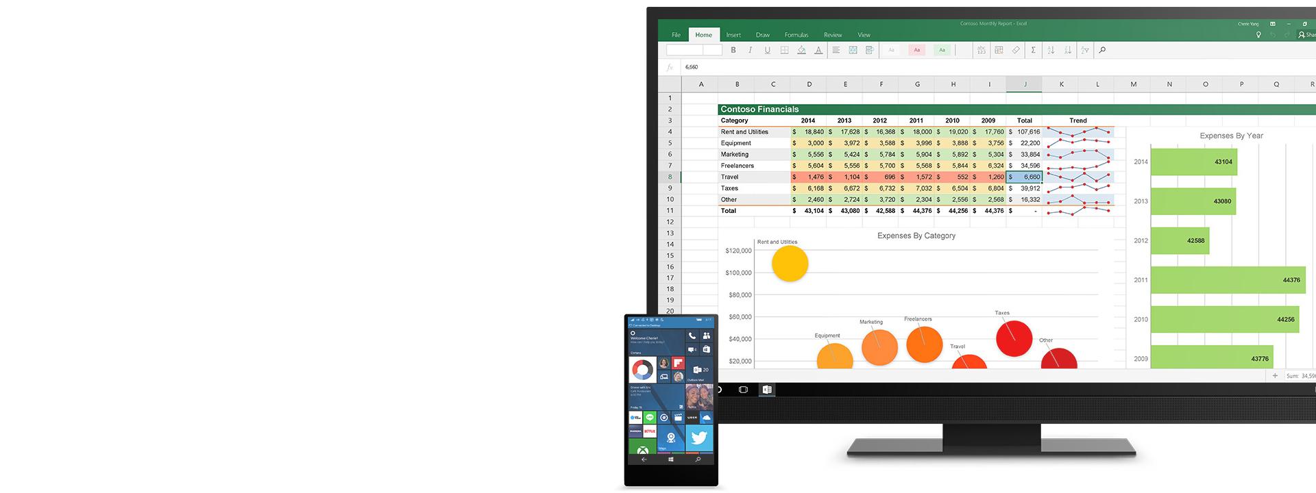 : Počítač a telefón s Windowsom 10 v ponuke Štart podporujúcej technológiu Continuum