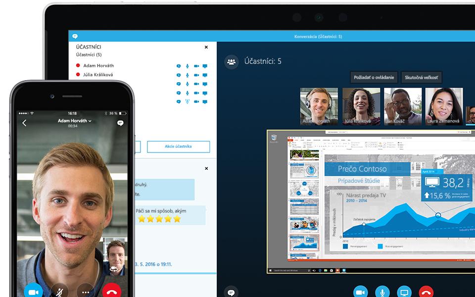 Roh obrazovky prenosného počítača zobrazujúcej prebiehajúcu schôdzu cez Skype for Business so zoznamom účastníkov