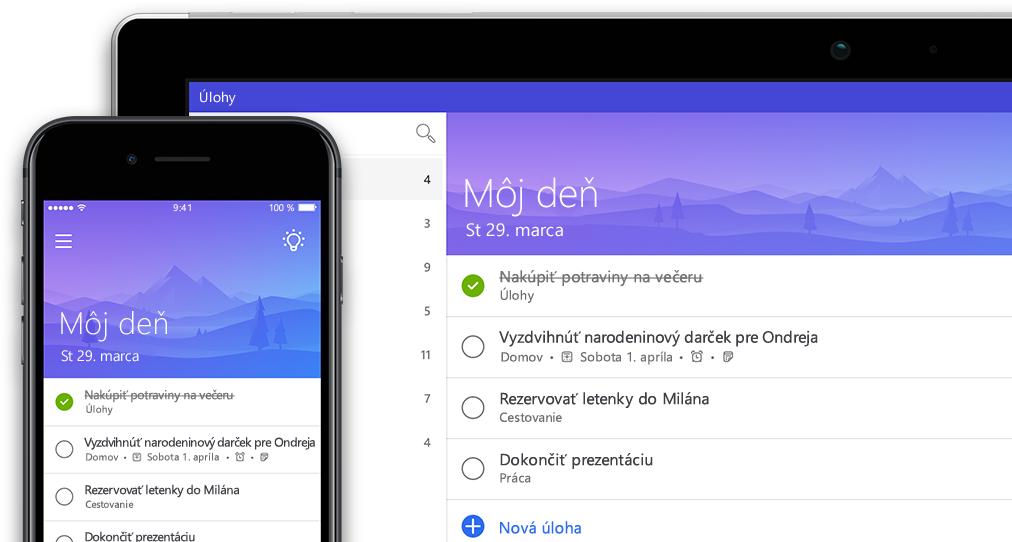 Smartfón atablet zobrazujúci totožný zoznam v aplikácii To-Do