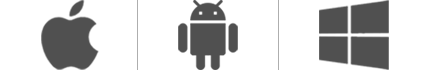 Obrázok zobrazujúci logá Apple®, Android™ aWindows.
