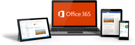 Tablet s Windowsom, prenosný počítač, iPad a smartfón zobrazujúci používanie služieb Office 365.
