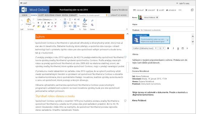 Zobrazenie e-mailovej správy vedľa tably ukážky prílohy dokumentu pomocou Wordu Online
