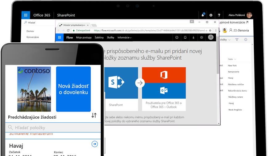 Žiadosť odovolenku vsmartfóne vaplikácii Microsoft Flow, aplikácia Microsoft Flow spustená vtablete