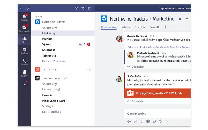 Obrazovka tabletu so zobrazením služby Microsoft Teams