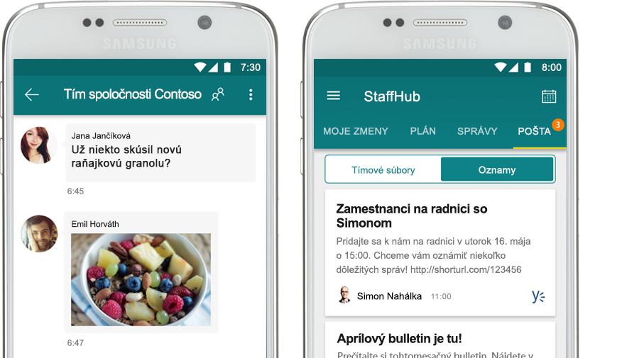 mobilný telefón zobrazujúci chat cez StaffHub vedľa mobilného telefónu sfiremným oznámením vaplikácii StaffHub
