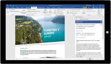 Obrazovka tabletu zobrazujúca Vyhľadávač pre Word používaný v dokumente o európskych cestovateľských výletoch, získajte informácie o vytváraní dokumentov pomocou vstavaných nástrojov balíka Office