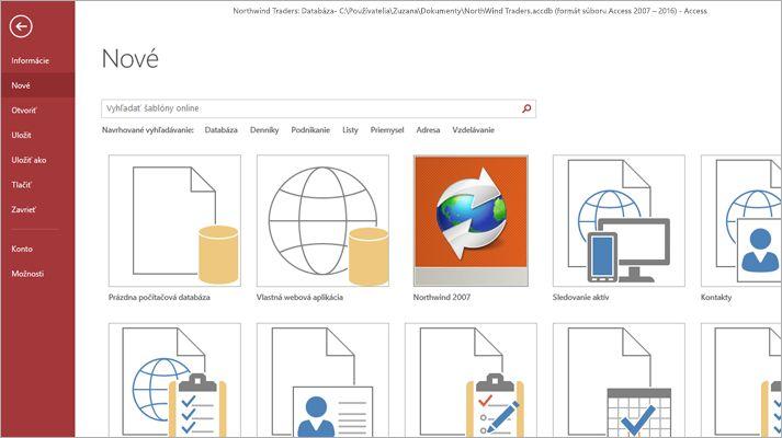 Snímka obrazovky šablóny databázovej aplikácie.