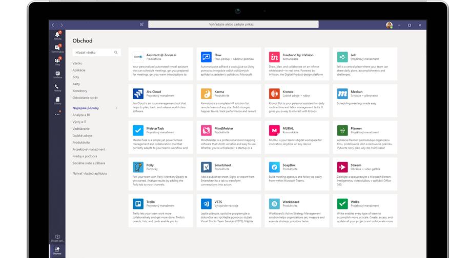 Microsoft App Store zobrazený vslužbe Teams