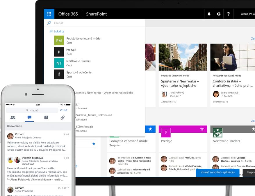 Smartfón zobrazujúci konverzácie cez Yammer – prezentované vGraphe