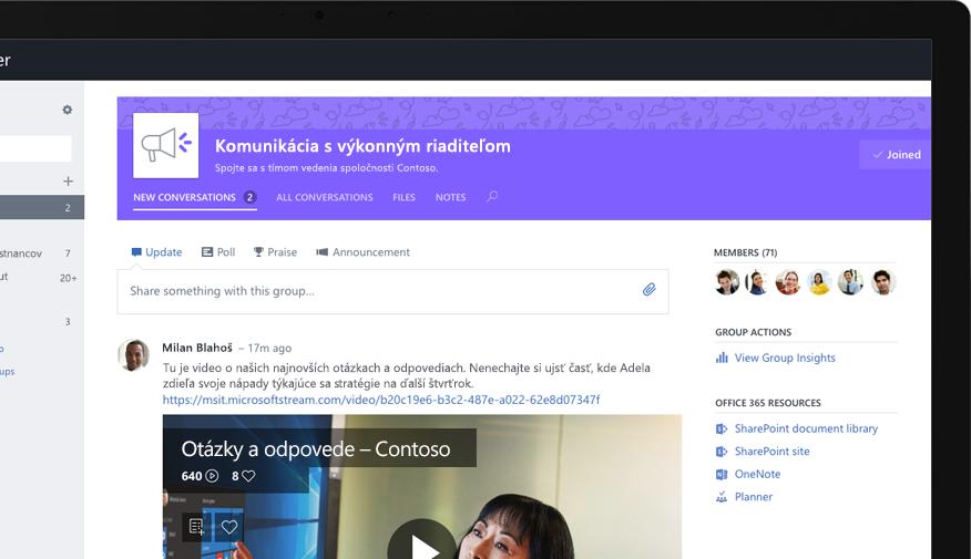 Yammer v tablete zobrazujúci výkonného pracovníka pri zdieľaní videa obsahujúceho otázky a odpovede pre celú spoločnosť