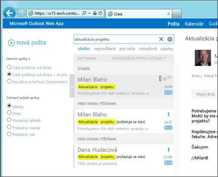Detail priečinka doručenej pošty používateľa v aplikácii Outlook Web App.