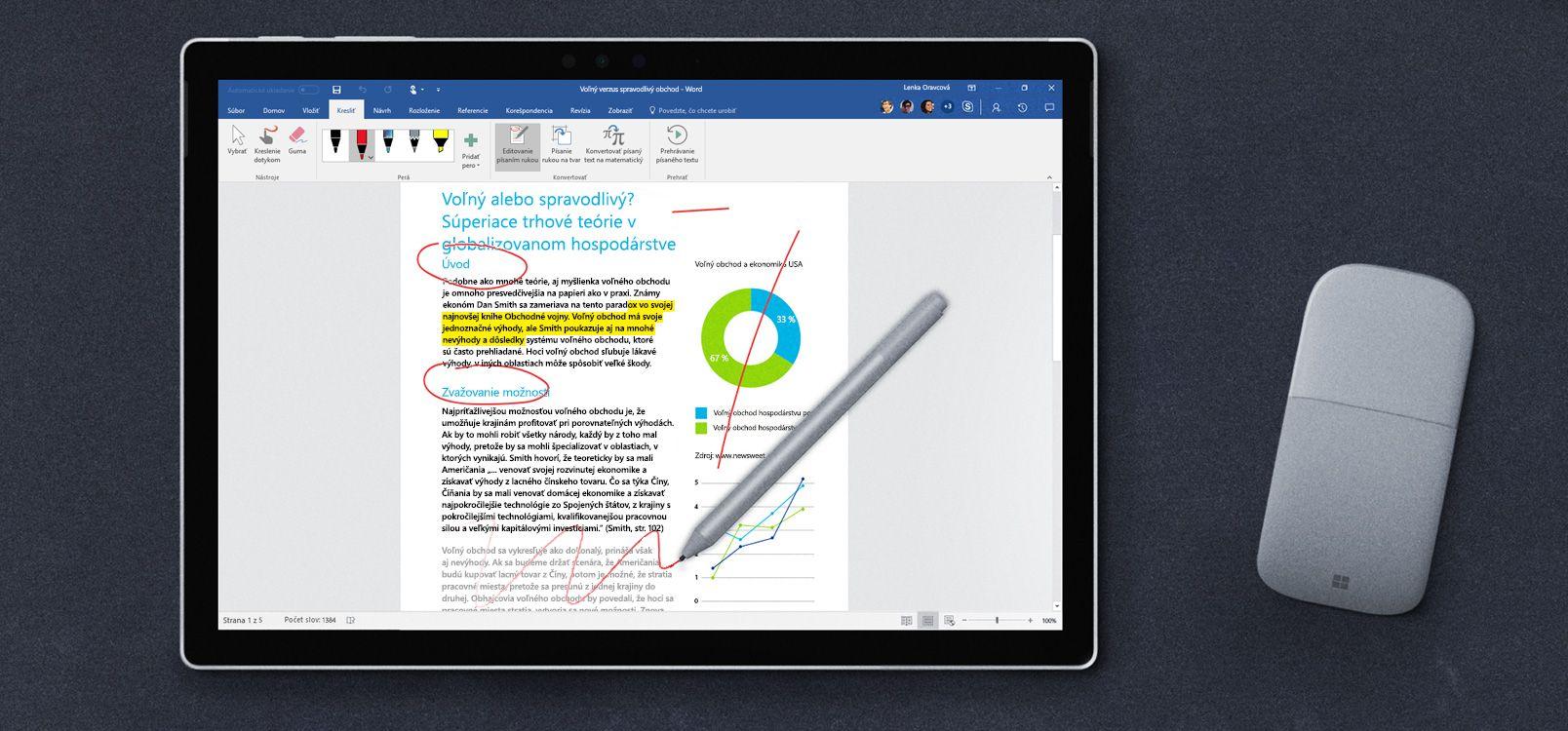 Obrazovka tabletu so zobrazenou funkciou Editovanie písaním rukou