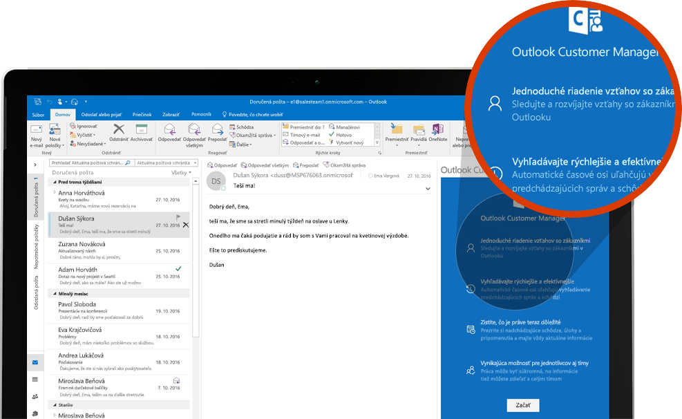 Počítačová obrazovka s detailným záberom na sekciu vo funkcii Outlook Customer Manager v Outlooku
