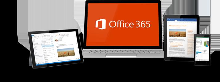 Tablet s Windowsom, prenosný počítač, iPad a smartfón zobrazujúce používanie služieb Office 365.