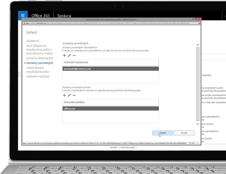 Politika filtrovania vslužbe Office 365 Exchange Online Protection vprenosnom počítači sWindowsom