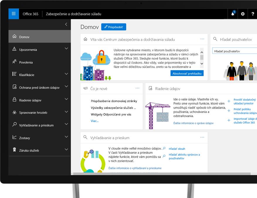 Centrum zabezpečenia adodržiavania súladu vslužbách Office 365 na monitore počítača sWindowsom