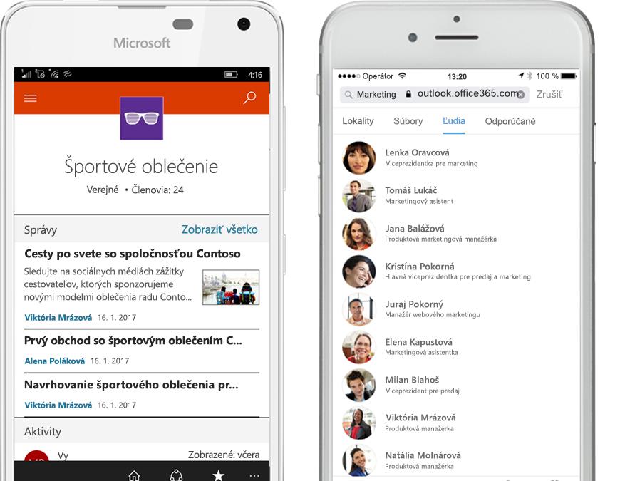 Dva smartfóny so spustenou mobilnou aplikáciou SharePoint