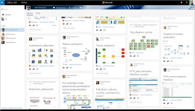 Snímka obrazovky s galériou Visio diagramov v Delve v rámci služieb Office 365.