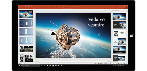 Obrazovka tabletu zobrazujúca prezentáciu ovede atechnike vo vesmíre, získajte ďalšie informácie ovytváraní dokumentov pomocou vstavaných nástrojov balíka Office