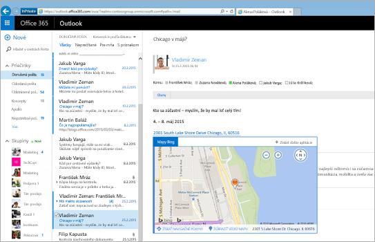 Detail priečinka doručenej pošty používateľa vOutlooku na webe na serveri Exchange.