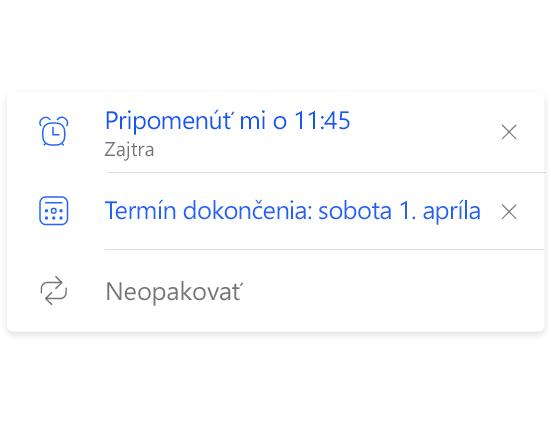 Podrobnosti zoznamu aplikácie To-Do zobrazujúce dve pripomenutia