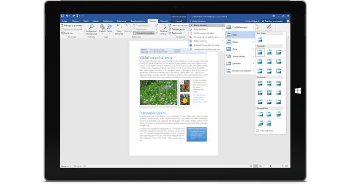 Surface znázorňujúci novú funkciu Chcem zistiť vo wordovom dokumente.
