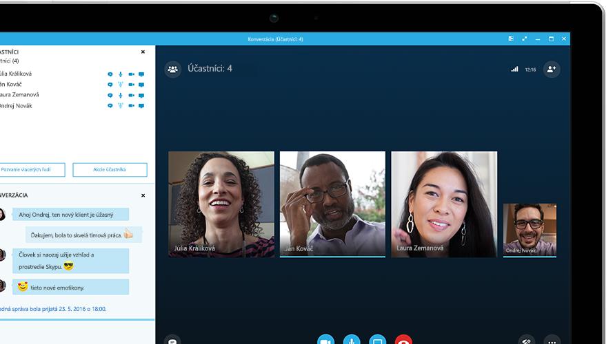 Tablet Surface zobrazujúci na obrazovke online schôdzu cez Skype for Business