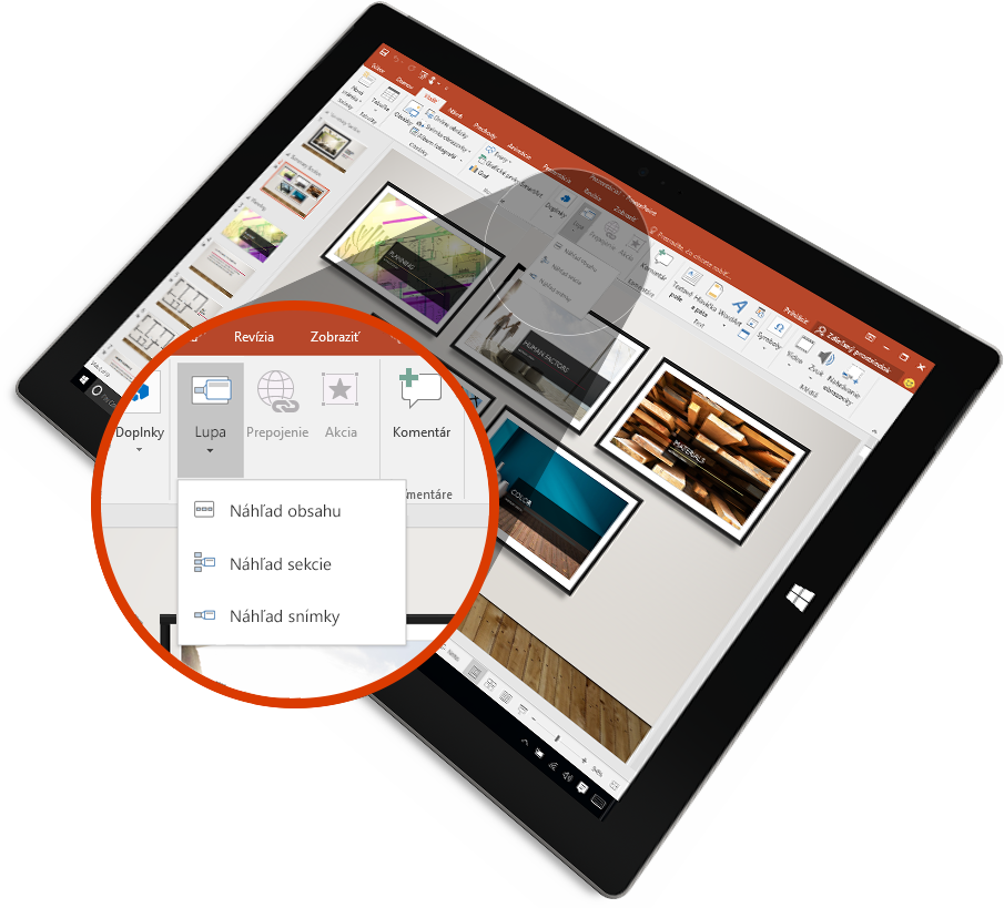 Tablet, vktorom sa zobrazuje powerpointová snímka vrežime prezentácie.