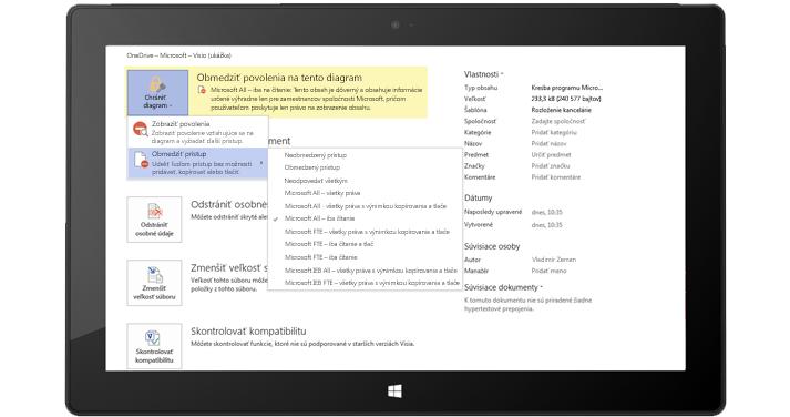 Tablet, na ktorom je zobrazená stránka Informácie o súbore vo Visiu spolu s vybratým diagramom zabezpečenia.