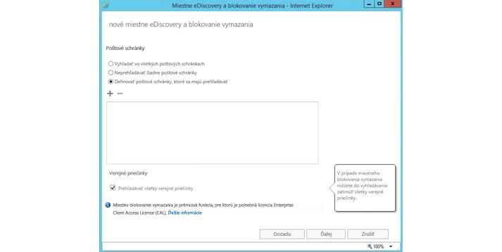 Okno Internet Explorera zobrazujúce funkciu miestneho eDiscovery ablokovania vymazania