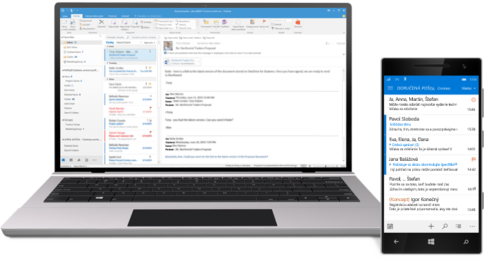 Tablet a smartfón zobrazujúce priečinok doručenej pošty v Office 365.
