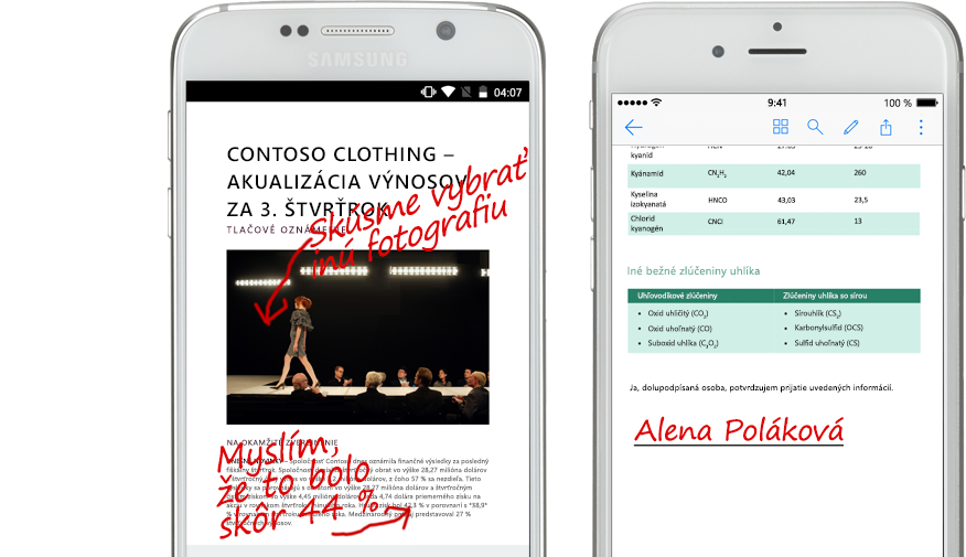 Dva smartfóny zobrazujúce dokumenty ana nich rukou písané poznámky