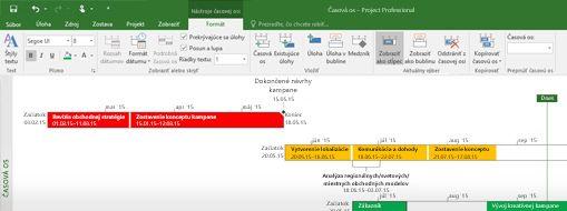 Snímka obrazovky so súborom projektu otvoreným v Projecte Professional