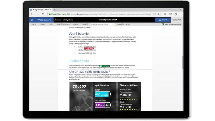 Obrazovka prenosného počítača zobrazujúca wordový dokument, ktorý upravujú viacerí autori vo Worde Online