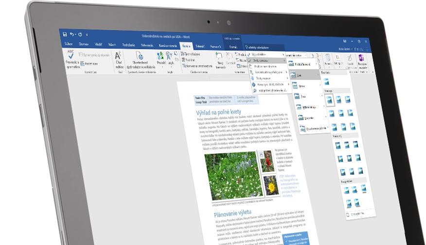 Tablet Surface zobrazujúci novú funkciu Chcem zistiť vo wordovom dokumente