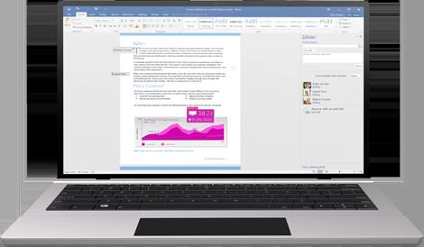 Spolupráca sa zjednodušila: Prenosný počítač swordovým dokumentom na obrazovke, vktorom sa zobrazuje prebiehajúca spolutvorba.