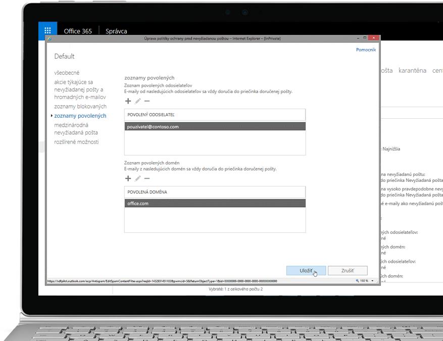 Tablet zobrazujúci úpravu zásad ochrany pred nevyžiadanou poštou vkonzole Office 365 Admin spovoleným odosielateľom apovolenou doménou