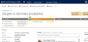 Obrázok stránky obchodných príležitostí v službe Microsoft Dynamics CRM Online.