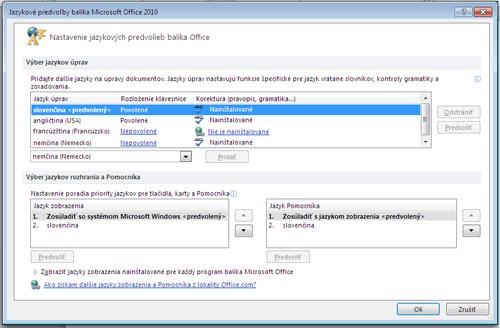 Sjazykovými balíkmi Language Pack 2010 si môžete jednoducho vybrať jazyk, vktorom chcete upravovať dokument