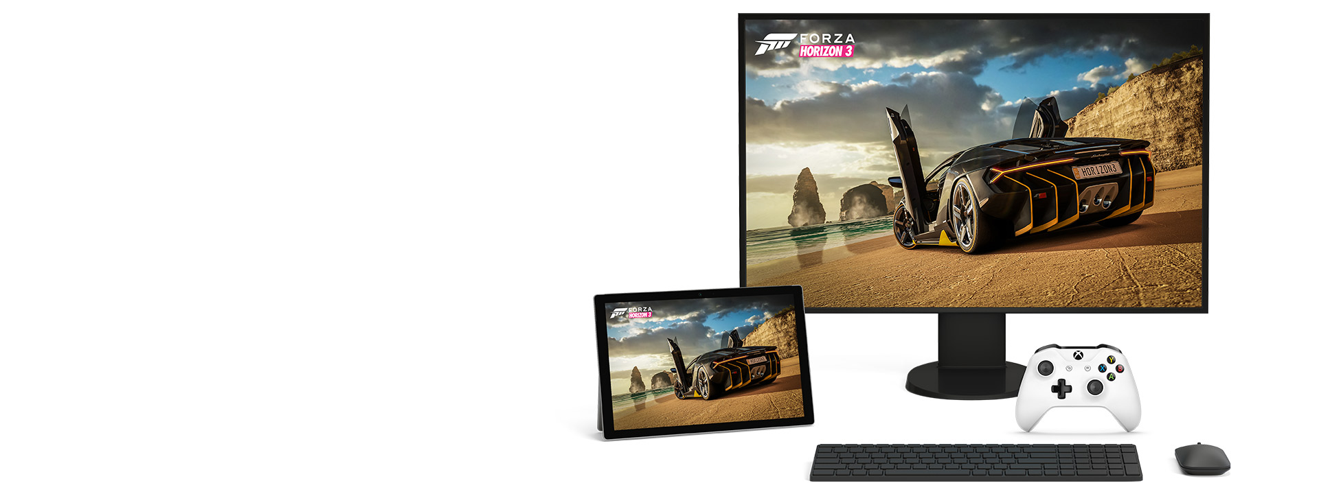 Počítač a tablet Microsoft Windows 10 s hrou Forza Horizon 3 pre Xbox