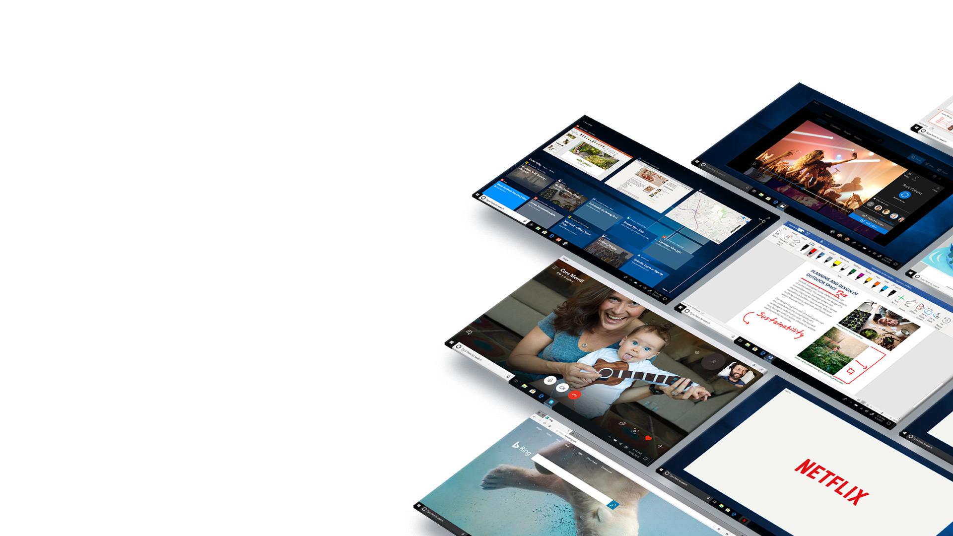 Mozaik zaslonov s prikazanim sistemom Windows 10, položenih na tla, z različnimi zagnanimi aplikacijami in programi