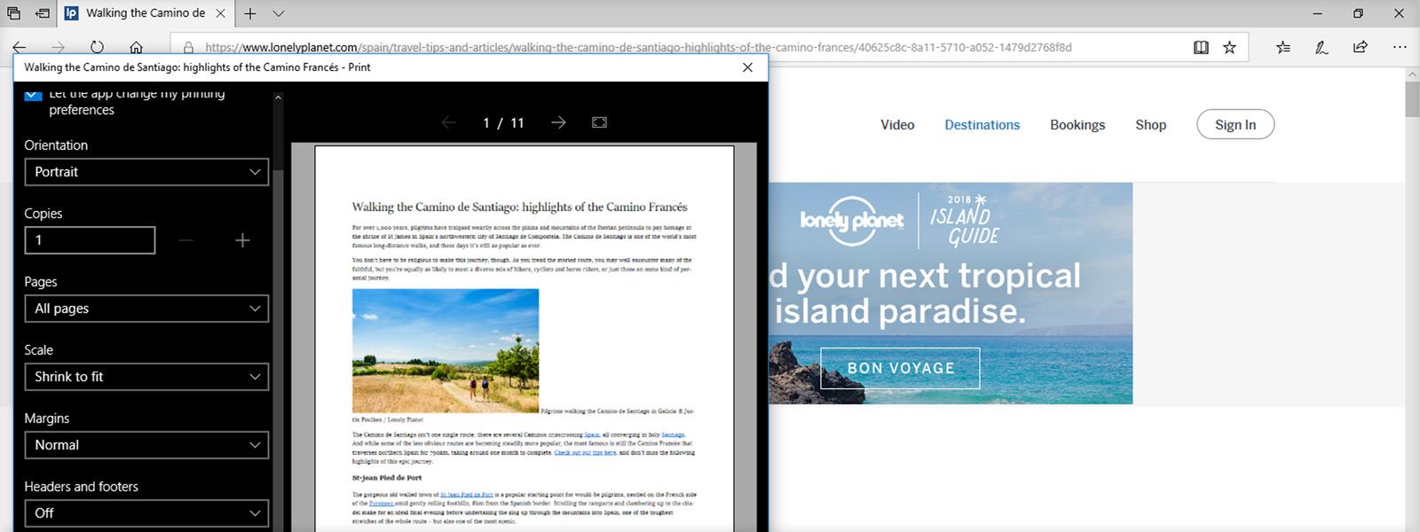 Slika na zaslonu, na kateri je prikazan predogled tiskanja v brskalniku Edge brez oglasov na izbrani spletni strani
