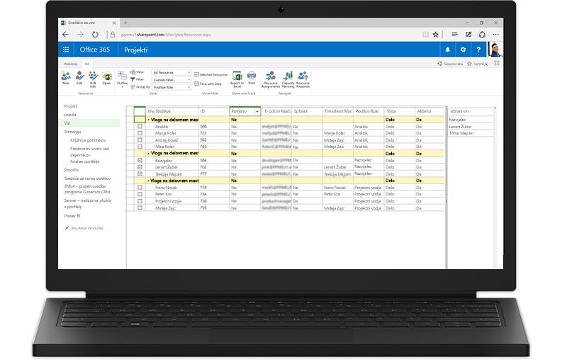 V prenosnem računalniku so prikazane funkcije strežnika Project Server, ki temeljijo na SharePointu
