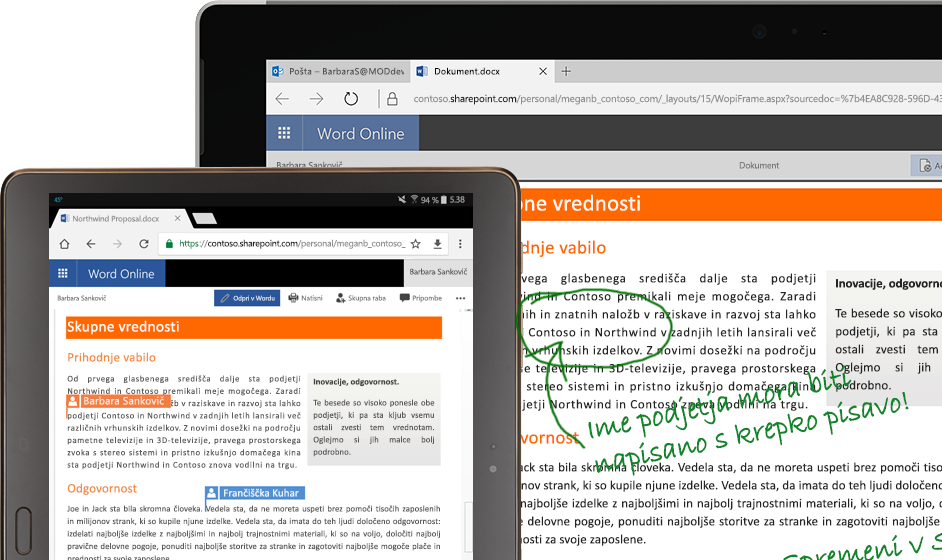 prenosni računalnik in tablični računalnik, v katerem se izvaja Word Online