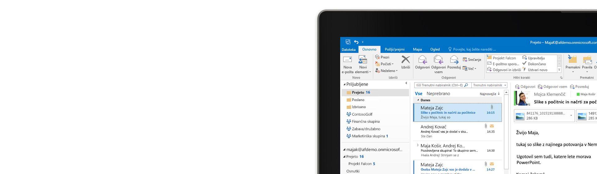 Tablični računalnik s prikazano mapo »Prejeto« programa Microsoft Outlook 2016 in seznamom sporočil ter sliko predogleda.
