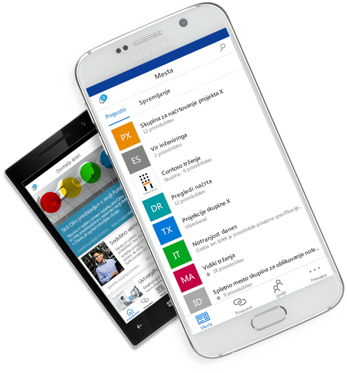 Aplikacija SharePoint aplikacija, prikazana na zaslonu prenosnih naprav
