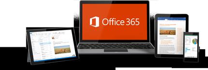 Prikaz uporabe storitve Office 365 v dveh tabličnih računalnikih, prenosnem računalniku in v telefonu.