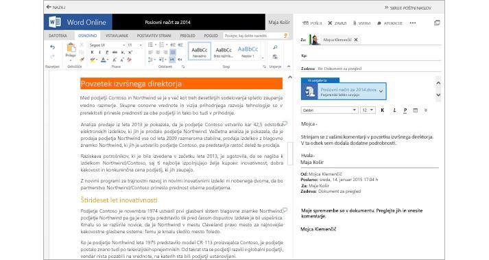 E-poštno sporočilo, prikazano zraven podokna za predogled priloge v obliki dokumenta s storitvijo Word Online