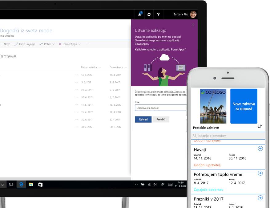prenosnik, v katerem je SharePointov seznam s prošnjami za dopust in zaslon za ustvarjanje aplikacij storitve PowerApps ob pametnem telefonu, na katerem je prikazana nova prošnja za dopust, ustvarjena v storitvi PowerApps